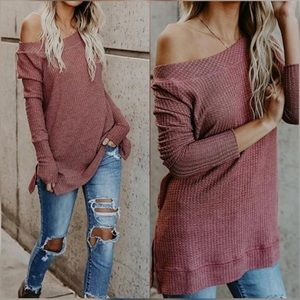 Tops - New Arrival !! Burgundy Soft Knit Boatneck thermal